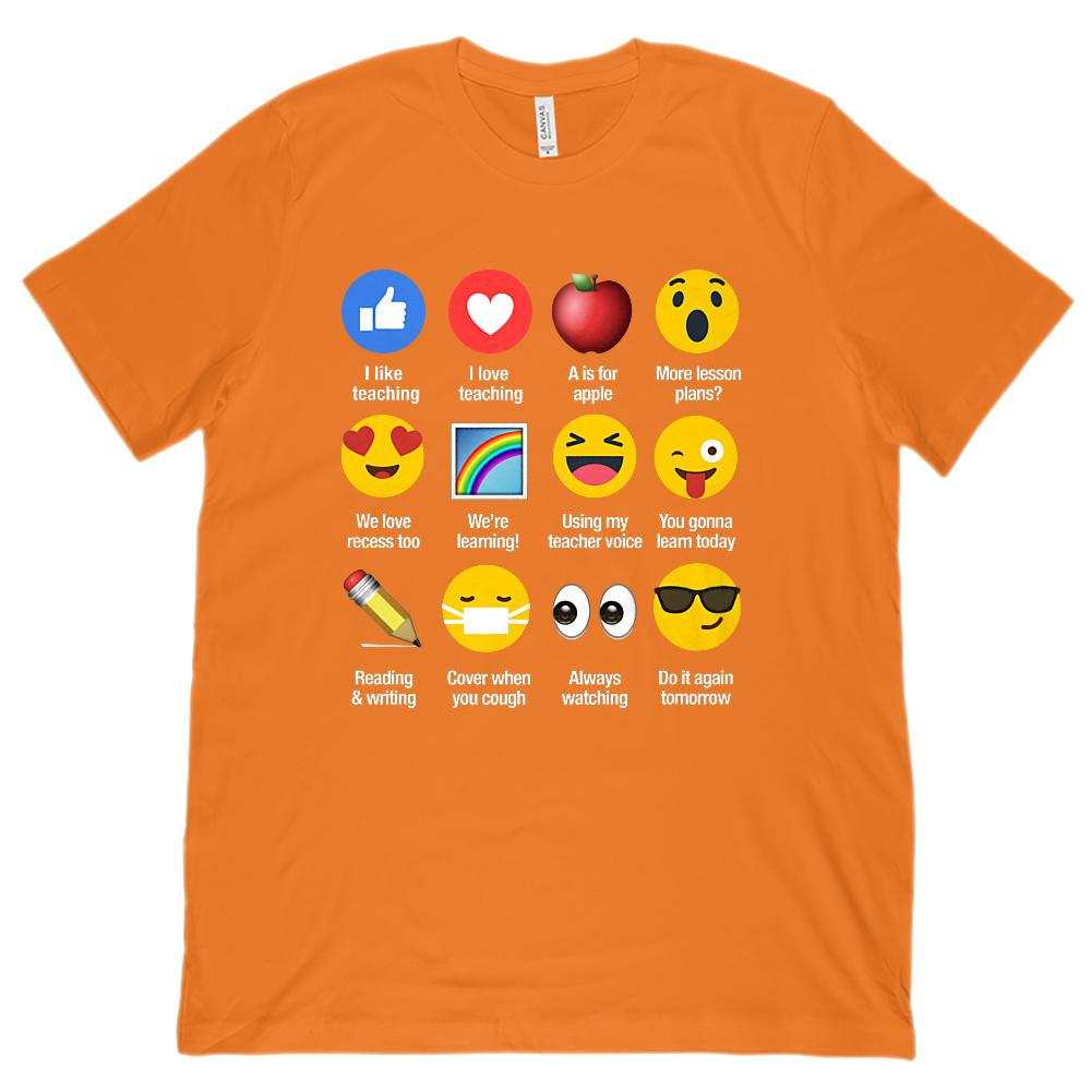 I Like Love Teaching Emoji Emoticon Sayings (Unisex BC 3001 Soft Tee) Graphic T-Shirt Tee BOXELS