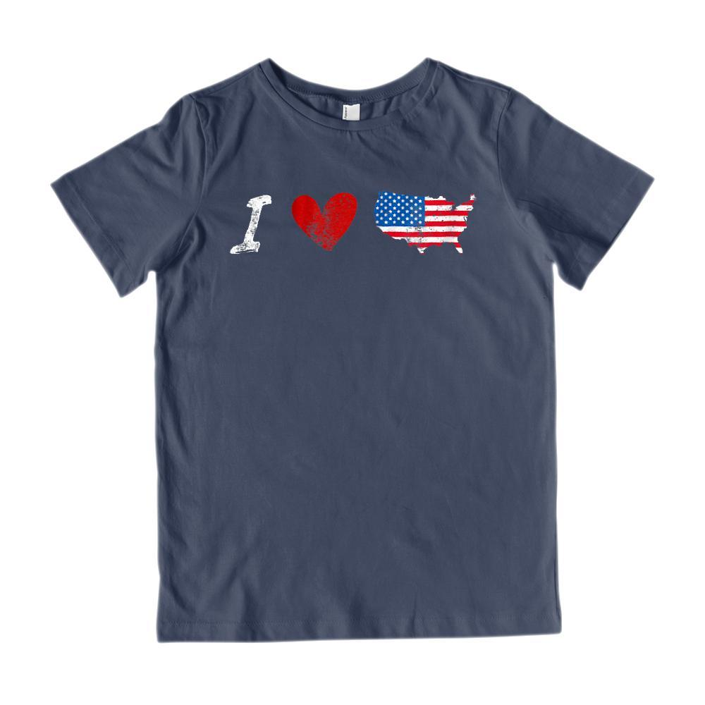 I Love (heart) American Graphic Map Grunge T-Shirt Graphic T-Shirt Tee BOXELS