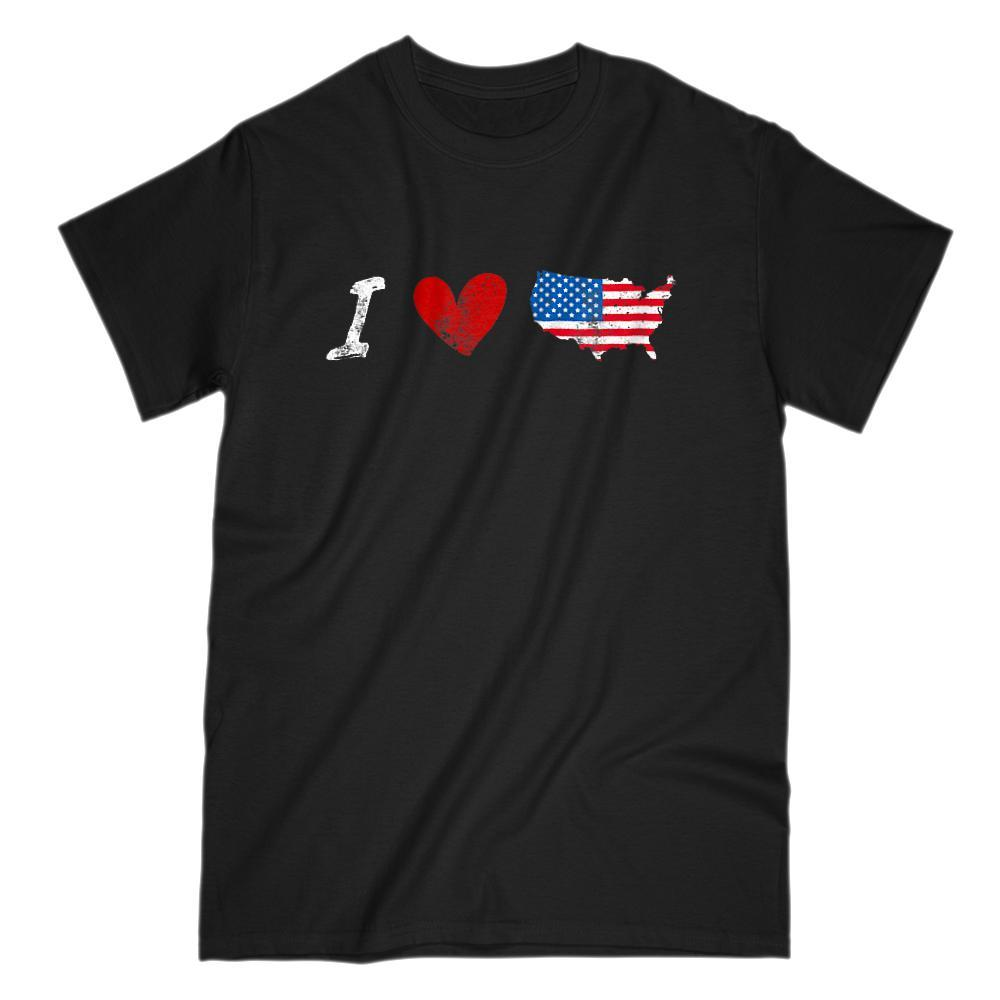 I Love (heart) American Graphic Map Grunge T-Shirt
