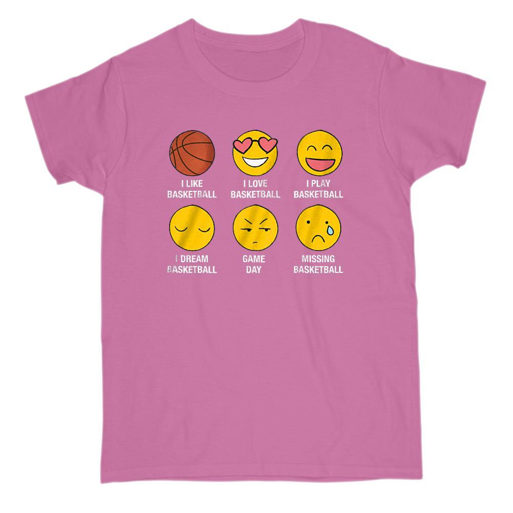 I Love, I Like Basketball Emoji (emoticon) Funny Sayings Graphic T-Shirt Tee BOXELS