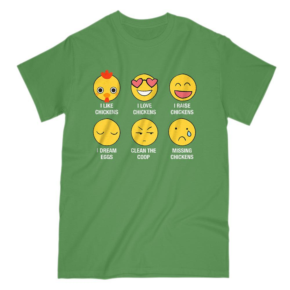 I Love, I Like Chickens Emoji (emoticon) Funny Sayings Graphic T-Shirt Tee BOXELS