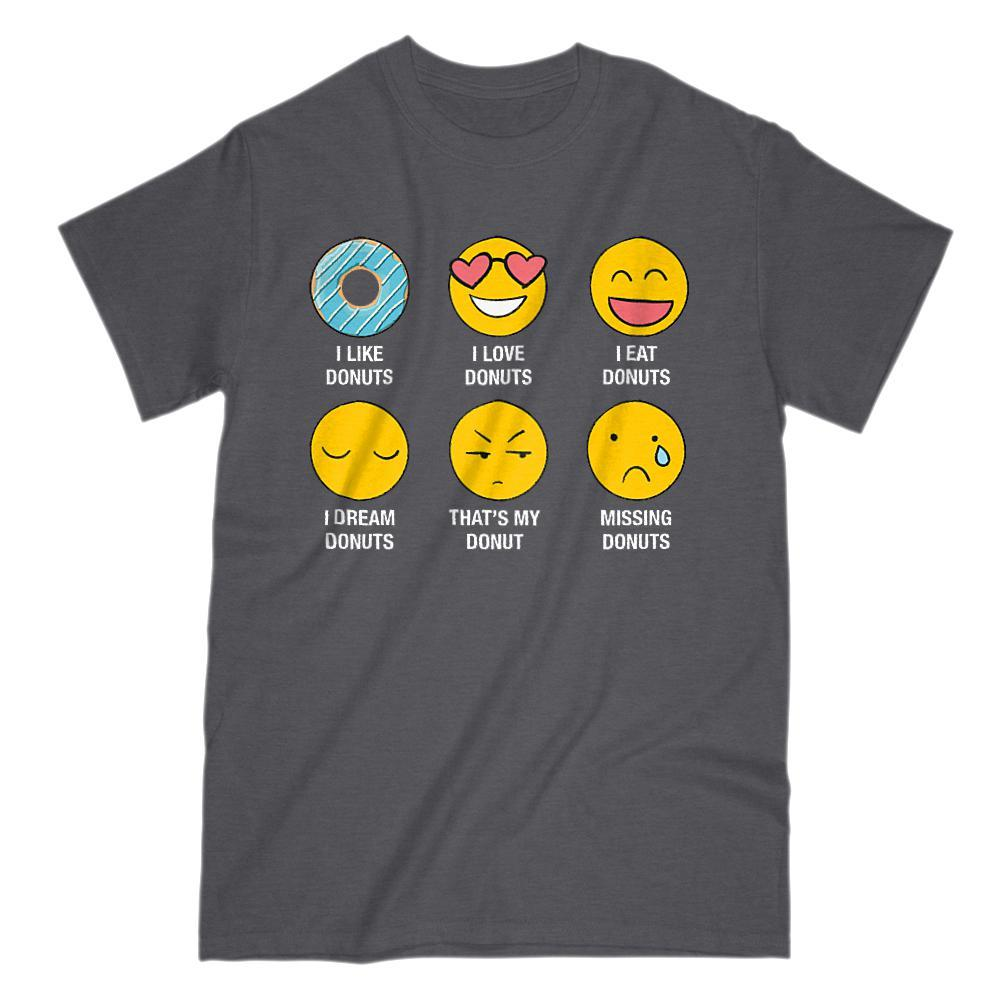 I Love, I Like Donuts Emoji (emoticon) Funny Sayings Graphic T-Shirt Tee BOXELS