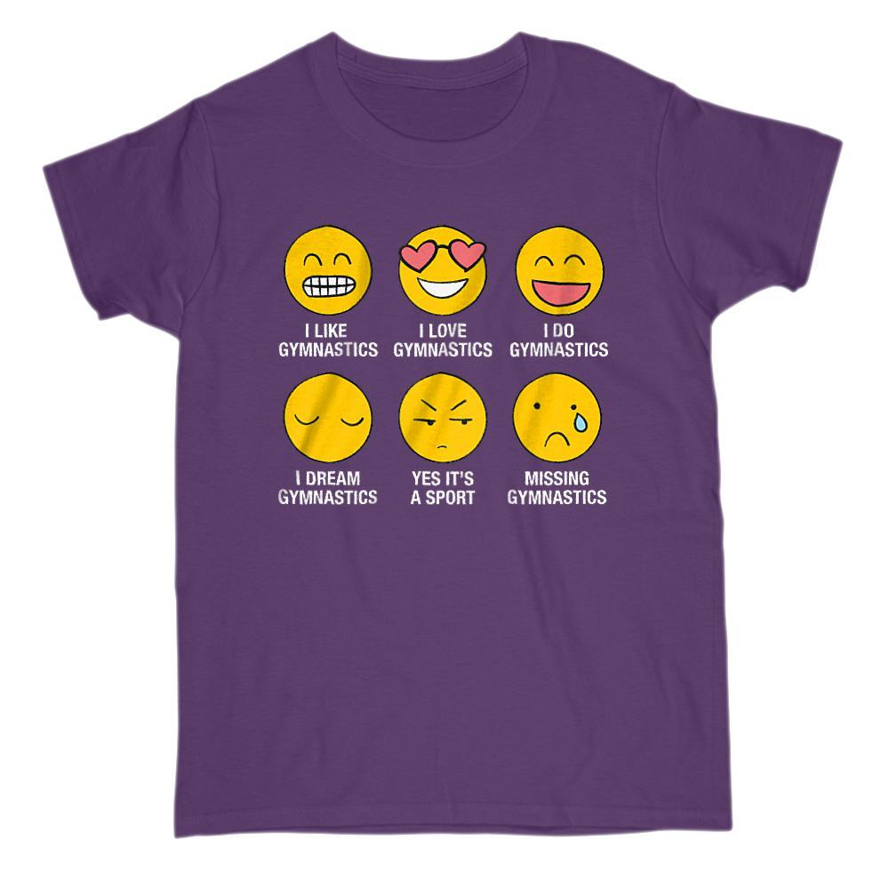 I Love, I Like Gymnastics Emoji (emoticon) Funny Sayings Graphic T-Shirt Tee BOXELS