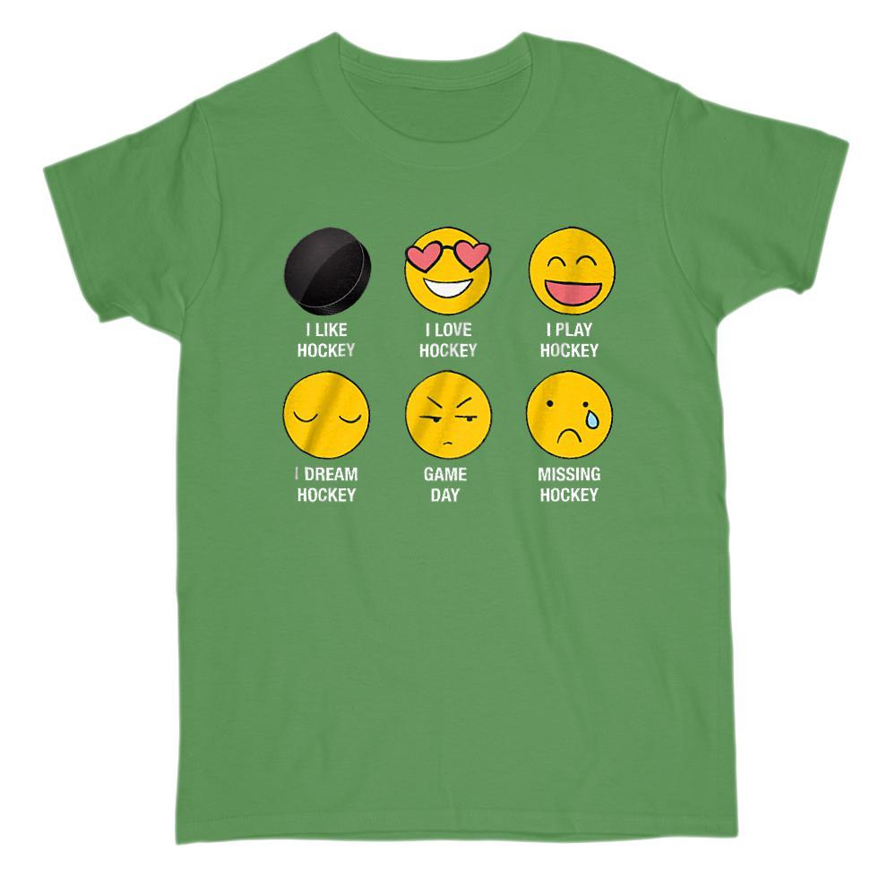 I Love, I Like Hockey Emoji (emoticon) Funny Sayings Graphic T-Shirt Tee BOXELS
