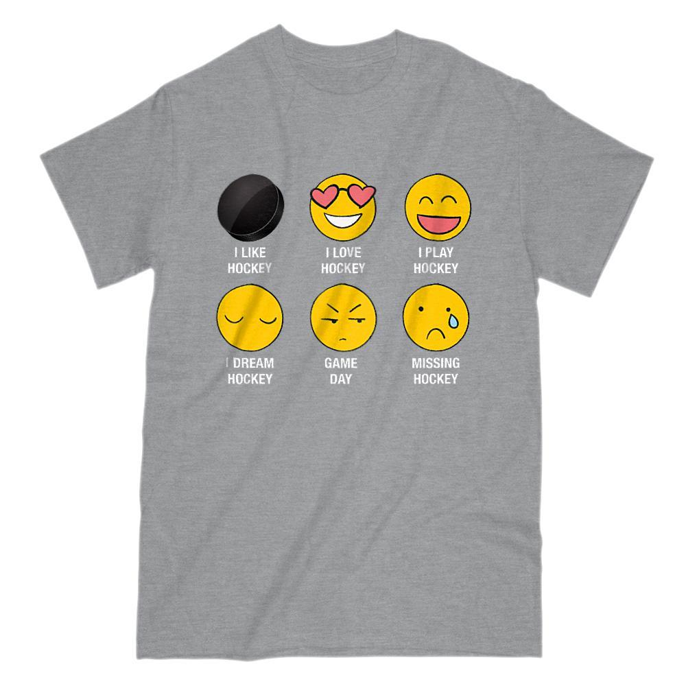 I Love, I Like Hockey Emoji (emoticon) Funny Sayings