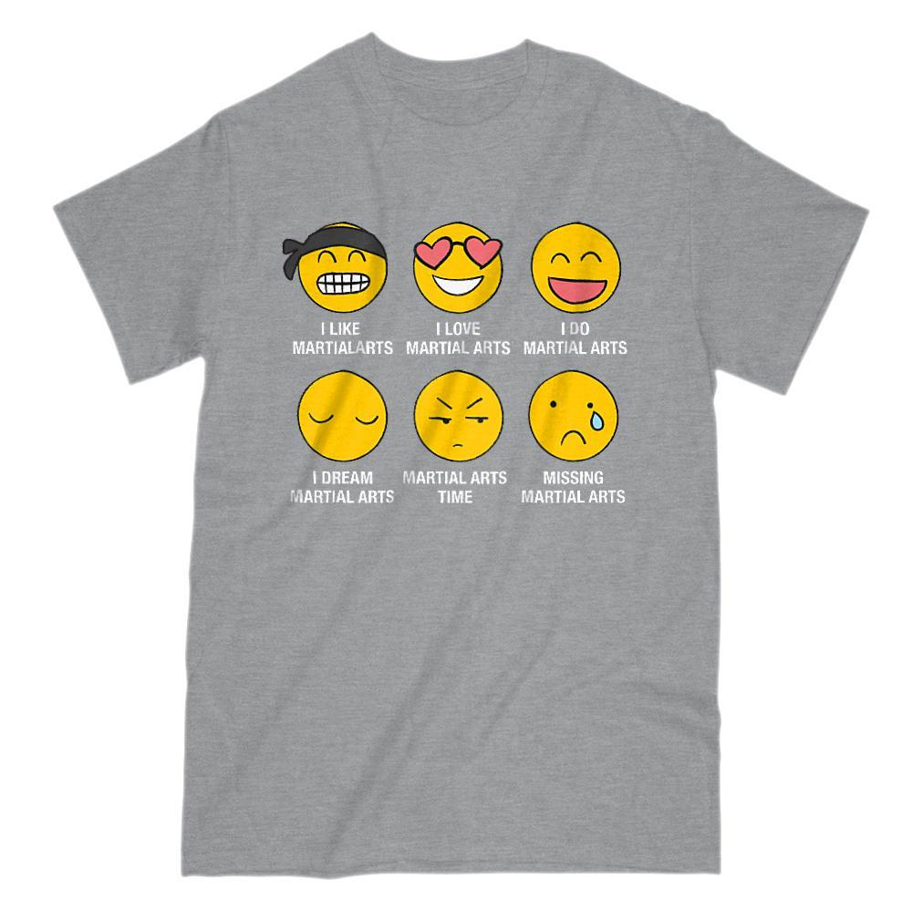 I Love, I Like Martial Arts Emoji (emoticon) Funny Sayings Graphic T-Shirt Tee BOXELS