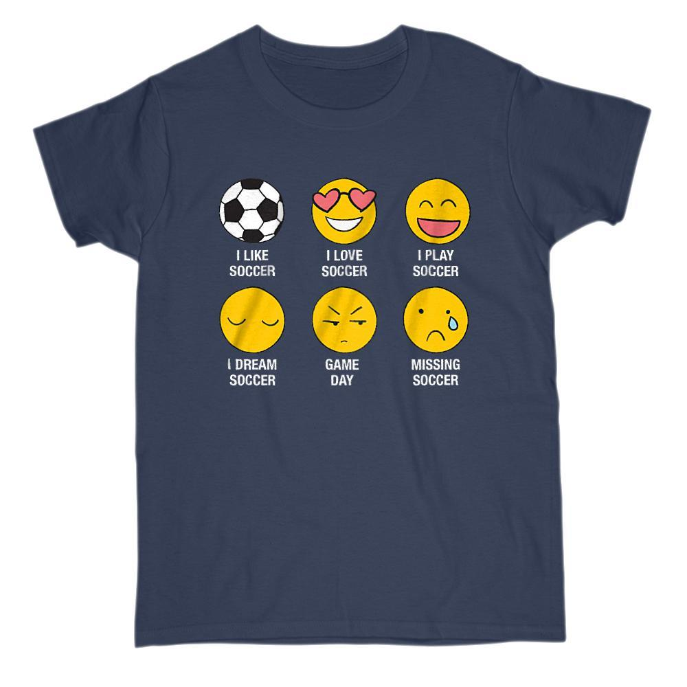 I Love, I Like Soccer (Fútbol) Emoji Emoticon Funny Sayings Graphic T-Shirt Tee BOXELS