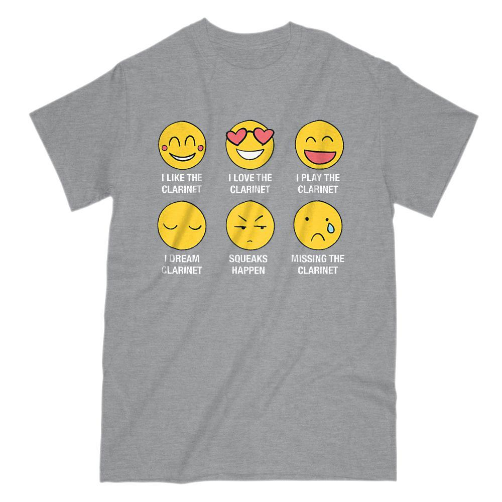 I Love, I Like The Clarinet Emoji (emoticon) Funny Sayings Graphic T-Shirt Tee BOXELS