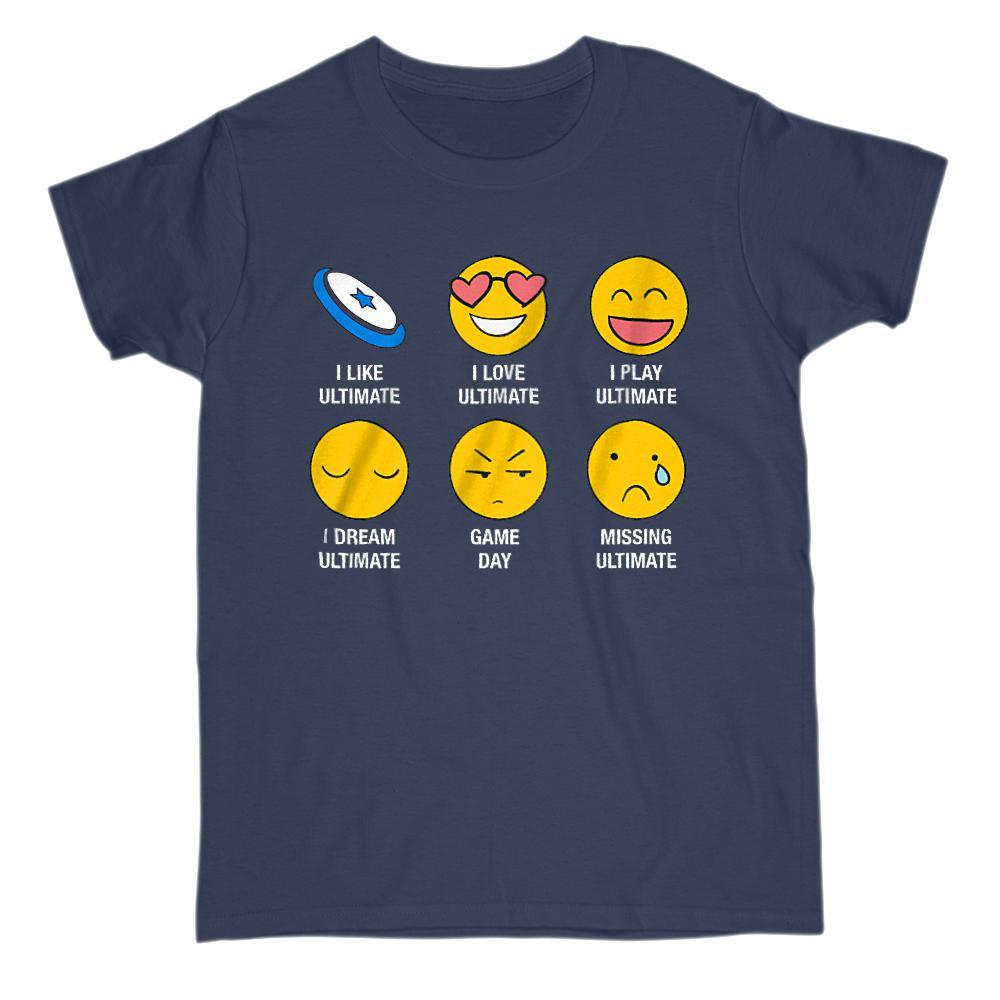I Love, I Like Ultimate (frisbee) Emoji Emoticon Sayings Graphic T-Shirt Tee BOXELS