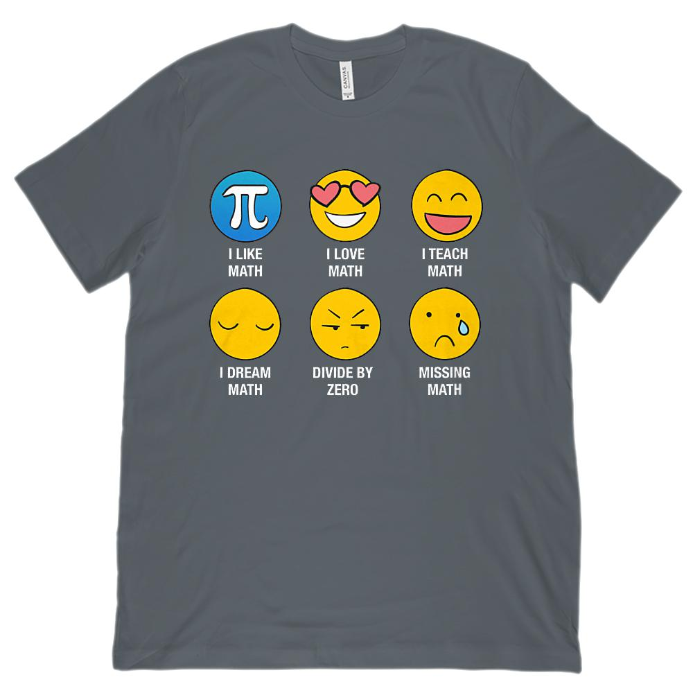 I Love Like Math Emoji Emoticon Teacher (Unisex BC 3001 Soft Tee) Graphic T-Shirt Tee BOXELS
