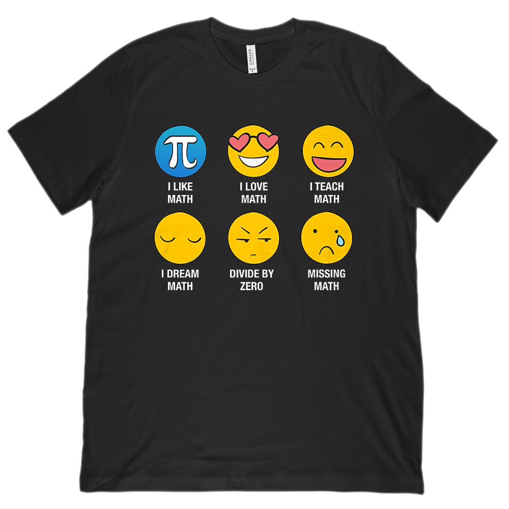I Love Like Math Emoji Emoticon Teacher (Unisex BC 3001 Soft Tee)