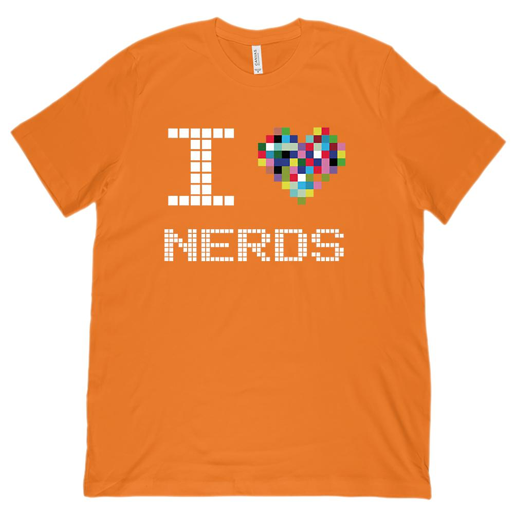 I Love Nerds Pixel Heart (Unisex Bella Canvas 3001 Soft Tee) Graphic T-Shirt Tee BOXELS