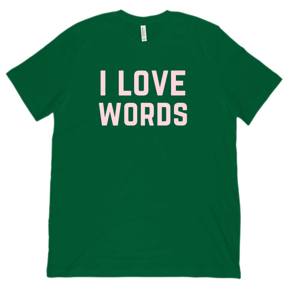 I Love Words Pink Font English Teacher (Unisex BC 3001 Soft Tee) Graphic T-Shirt Tee BOXELS