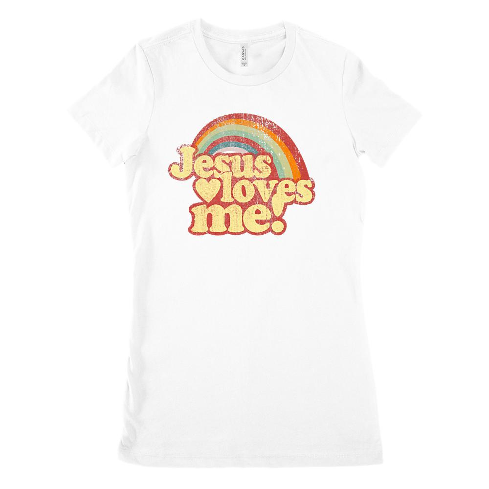 Jesus Loves Me! Rainbow Grunge (desaturated) (Women's BC 6004 Soft Tee) Graphic T-Shirt Tee BOXELS