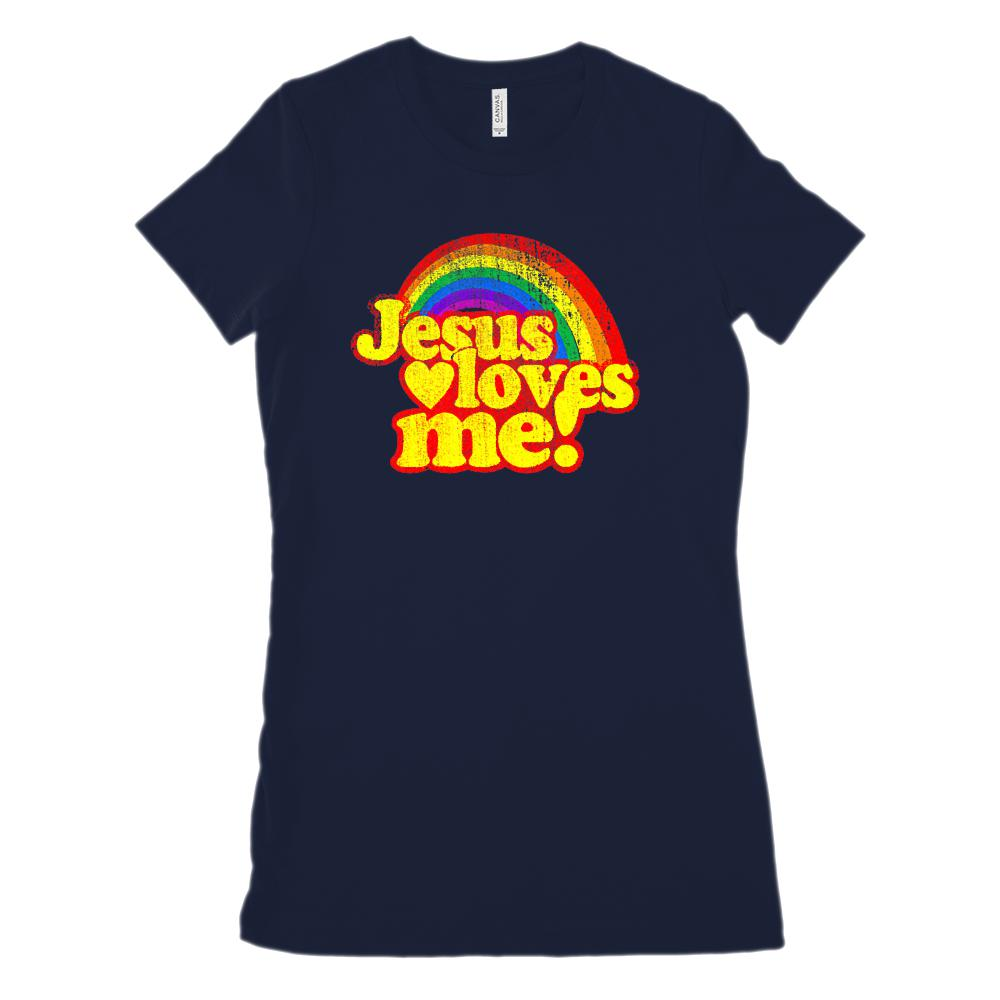 Jesus Loves Me Rainbow Retro Bright (Women's BC 6004 Soft Tee) Graphic T-Shirt Tee BOXELS