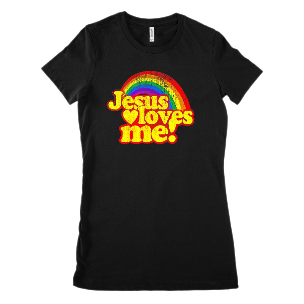 Jesus Loves Me Rainbow Retro Bright (Women's BC 6004 Soft Tee)