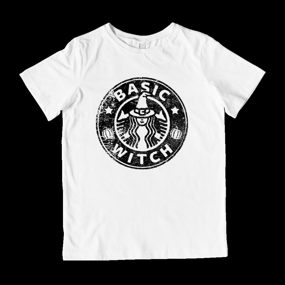 (Kid's Gildan Cotton Tee) Basic Witch Coffee Parody Halloween Graphic T-Shirt Tee BOXELS