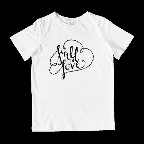 (Kid's Gildan Cotton Tee) Fall In Love Autumn Harvest Season (black font) Graphic T-Shirt Tee BOXELS