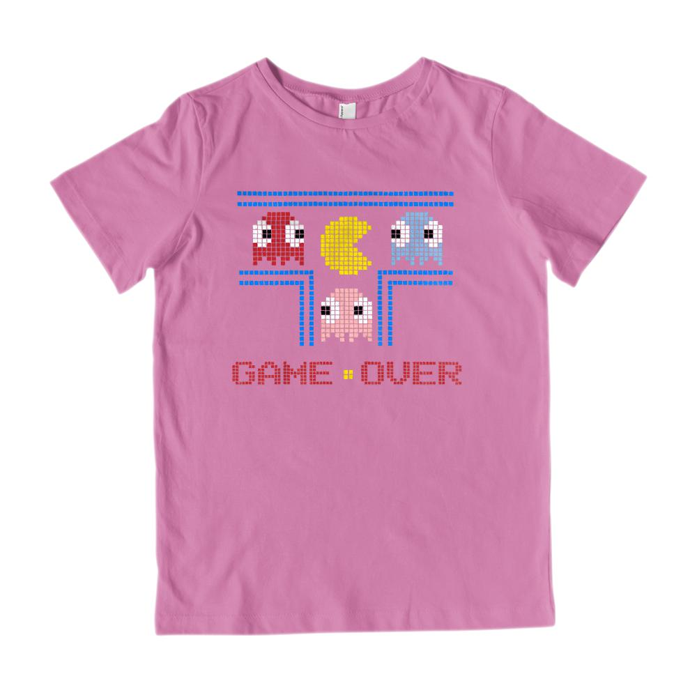 (Kid's Gildan Cotton Tee) Game Over (kids) Retro Ghost Man Pac Parody Graphic T-Shirt Tee BOXELS
