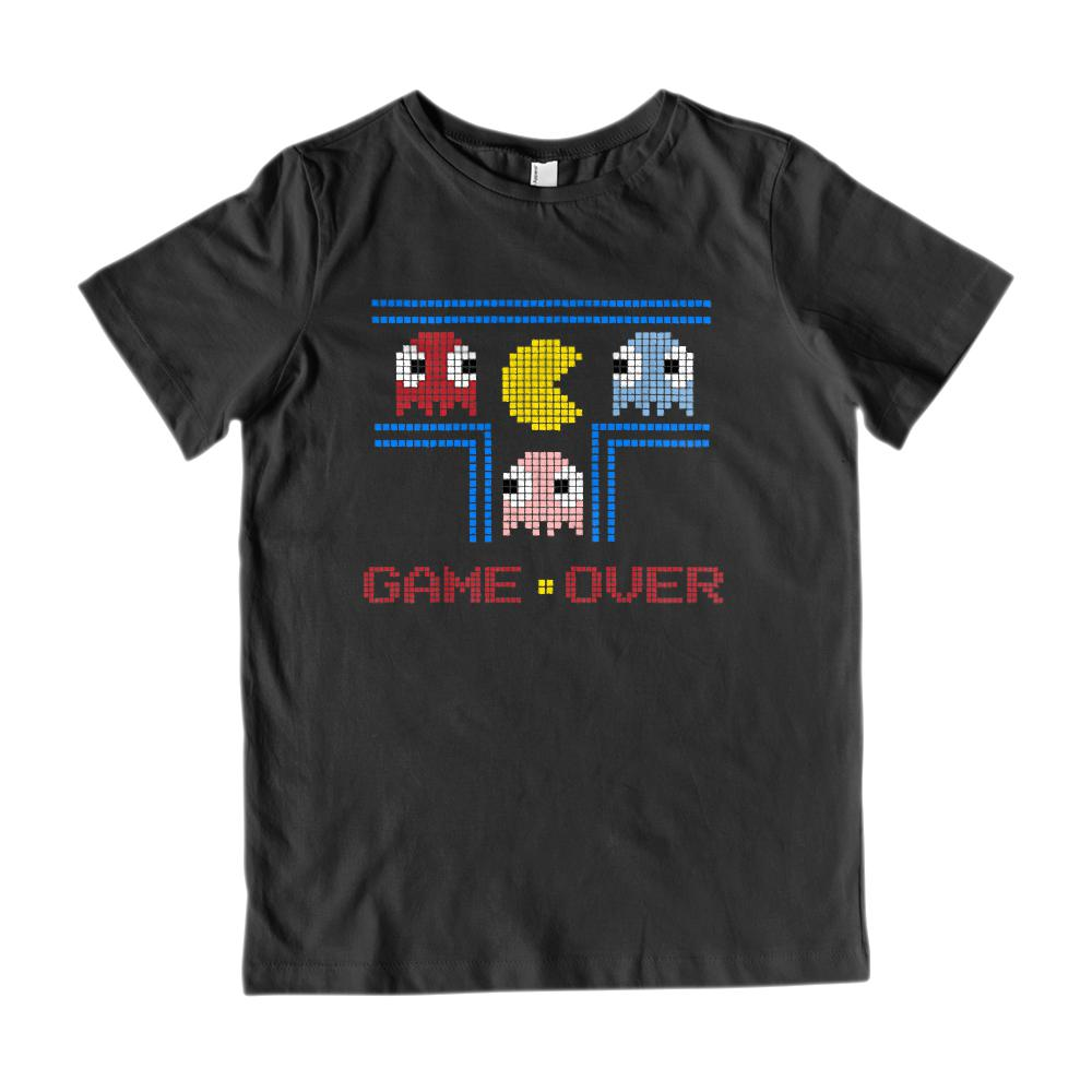 (Kid's Gildan Cotton Tee) Game Over (kids) Retro Ghost Man Pac Parody