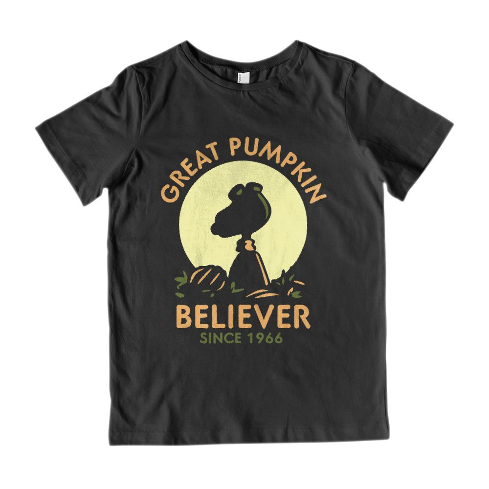 (Kid's Gildan Cotton Tee) Great Pumpkin Believer Since 1966 Silhouette Graphic T-Shirt Tee BOXELS