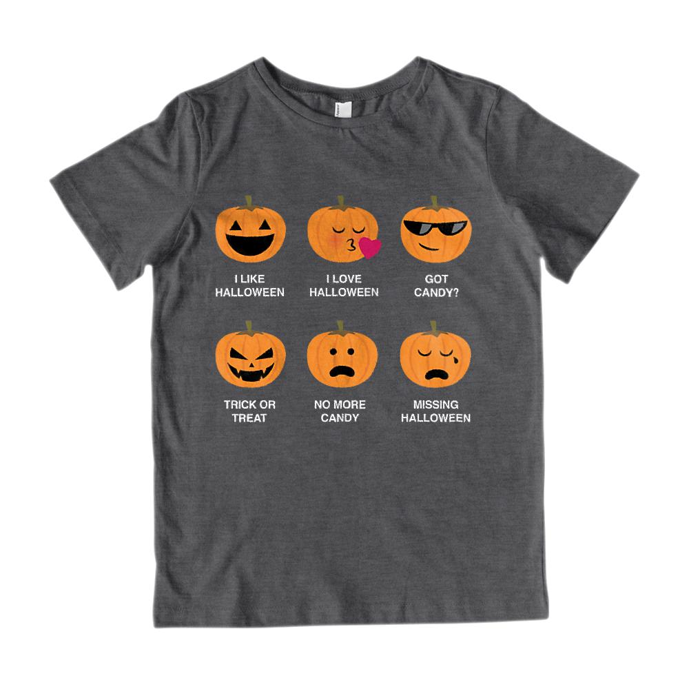 (Kid's Gildan Cotton Tee) I Like I Love Halloween Pumpkins Emoji Emoticon Graphic T-Shirt Tee BOXELS