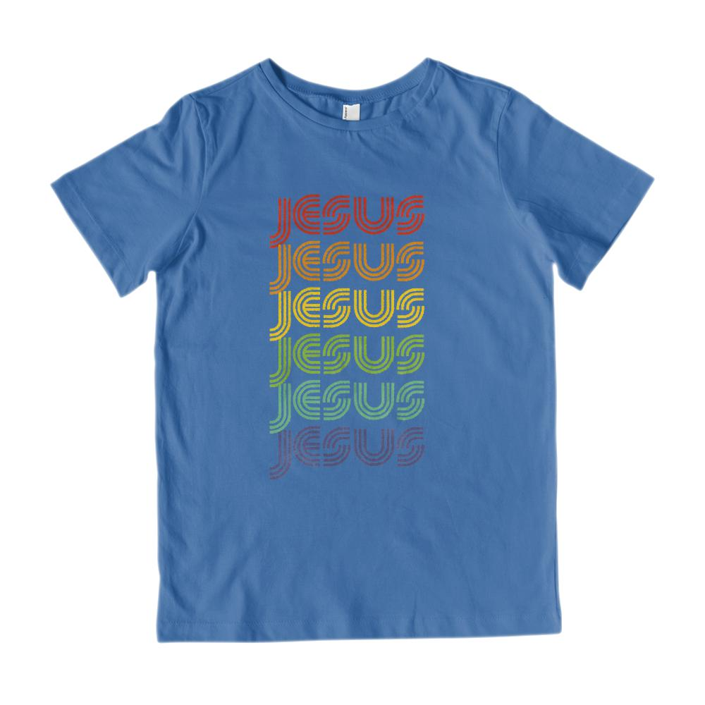 (Kid's Gildan Cotton Tee) Jesus Retro Rainbow Font Graphic T-Shirt Tee BOXELS