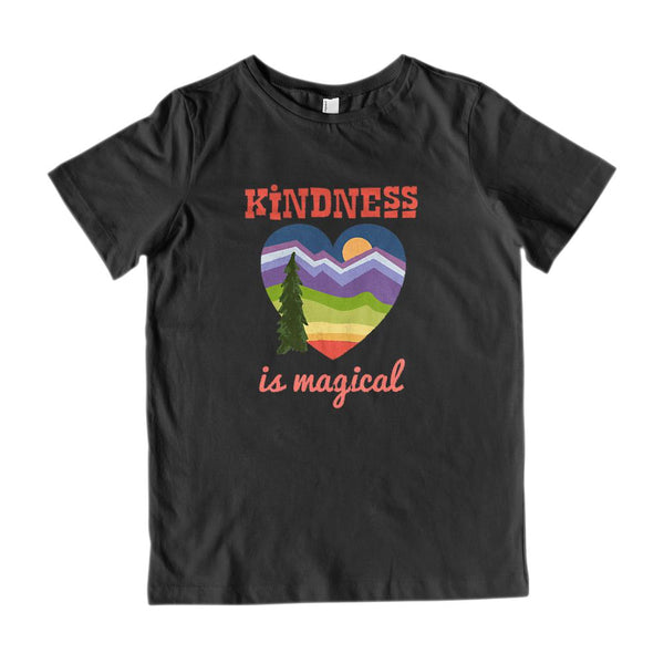 (Kid's Gildan Cotton Tee) Kindness is Magical Heart Outdoors Graphic T-Shirt Tee BOXELS
