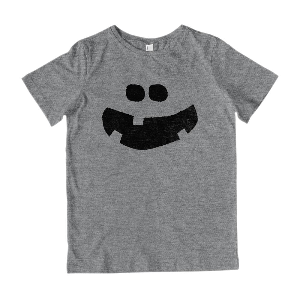 (Kid's Gildan Cotton Tee) Pumpkin Carved Face Chibi Smile Black Graphic T-Shirt Tee BOXELS