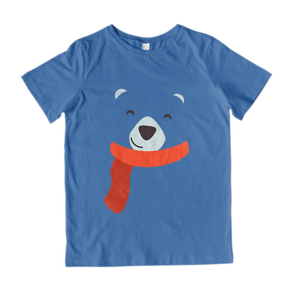 (Kids Gildan Cotton Tee - Royal Blue ) Transparent Polar Bear Face Graphic T-Shirt Tee BOXELS