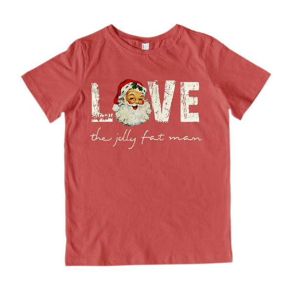 (Kid's Gildan Cotton Tee) Santa the Jolly Fat Man Love Retro Vintage Graphic T-Shirt Tee BOXELS