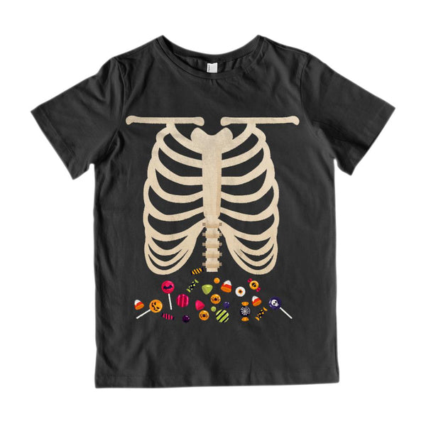 (Kid's Gildan Cotton Tee) Skeleton Candy Tummy See Through Graphic T-Shirt Tee BOXELS