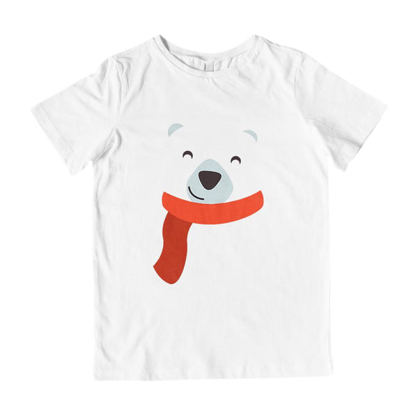 (Kids Gildan Cotton Tee) Transparent Polar Bear Face Graphic T-Shirt Tee BOXELS