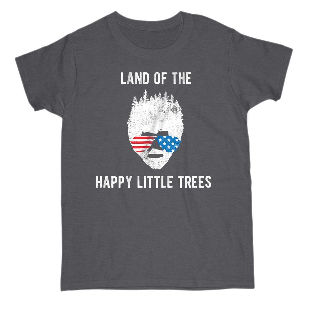 Land of the Happy Little Trees Patriotic Bob Ross T-shirt Graphic T-Shirt Tee BOXELS