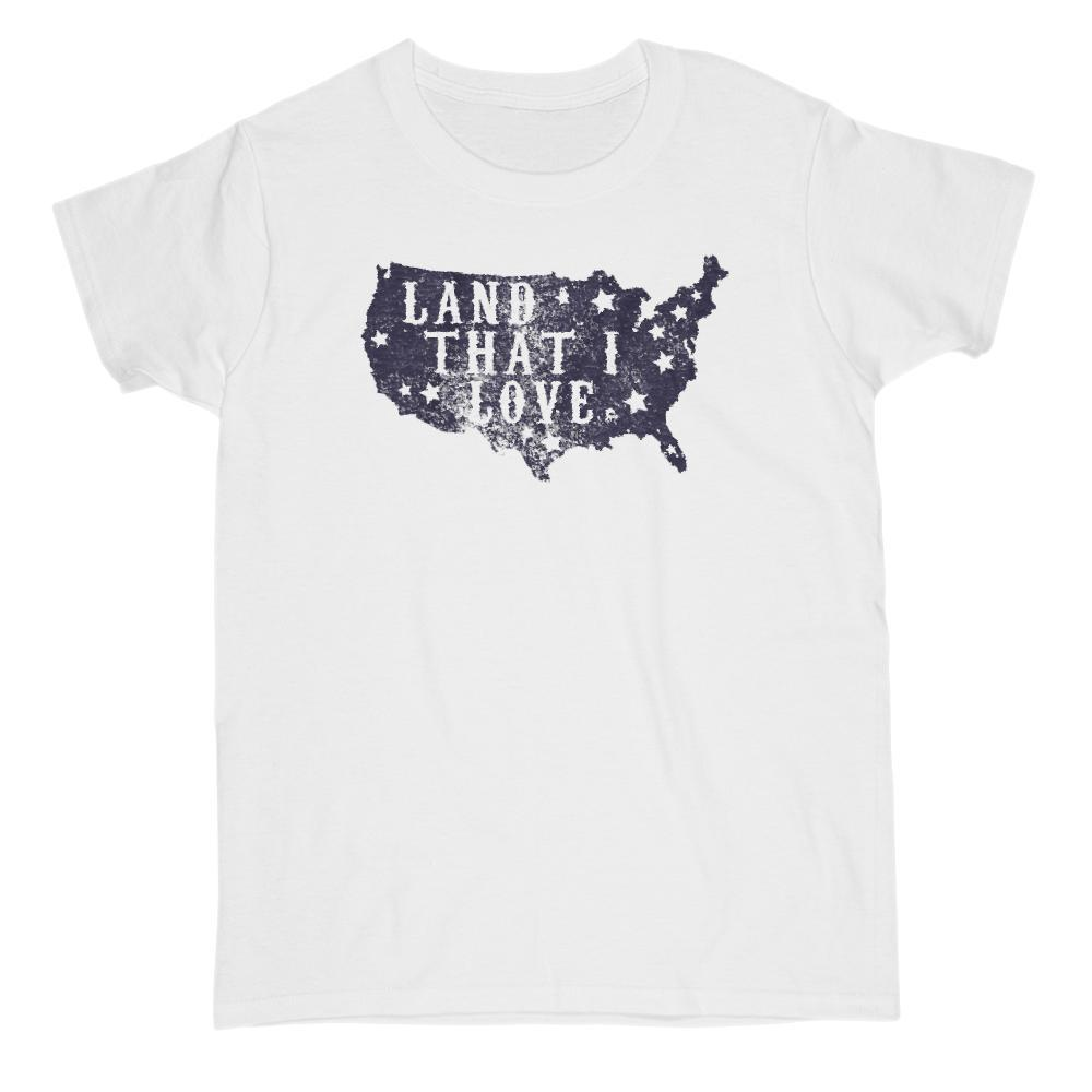 Land That I Love Map USA Patriotic T-Shirt Graphic T-Shirt Tee BOXELS