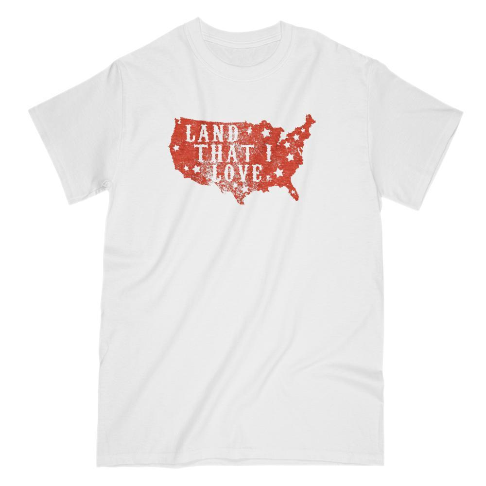 Land that I love USA America Map red T-shirt Patriotic Graphic T-Shirt Tee BOXELS