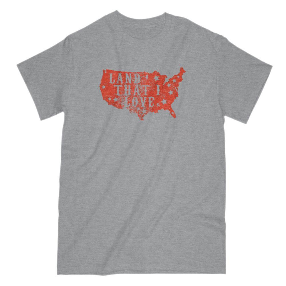Land that I love USA America Map red T-shirt Patriotic