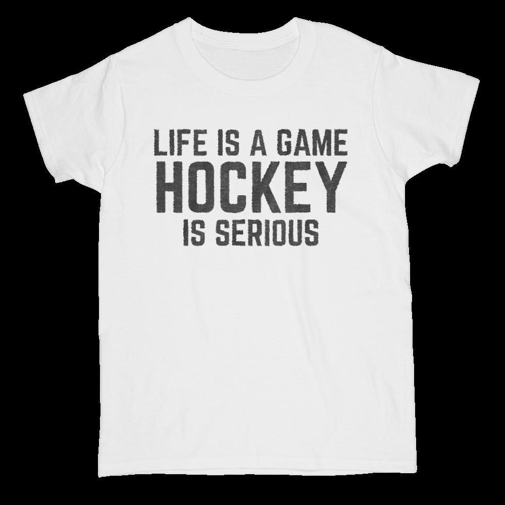 Life is a Game - Hockey is Serious Graphic Saying T-Shirt Graphic T-Shirt Tee BOXELS