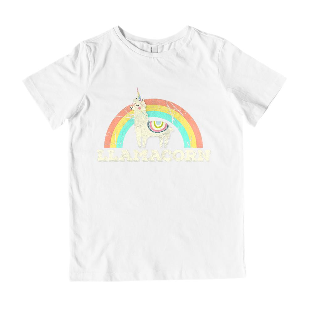 Llamacorn Unicorn Llama Retro Rainbow Grunge (kid's Gildan Cotton Tee) Graphic T-Shirt Tee BOXELS