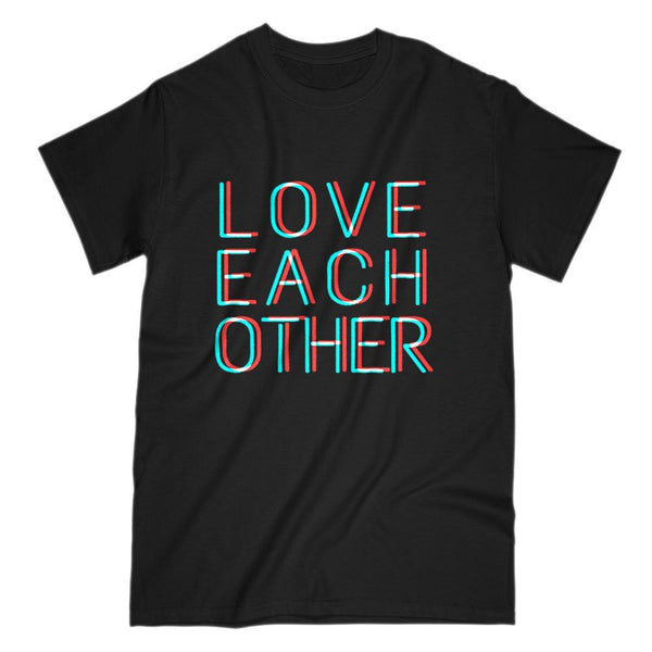 Love Each Other Christian Faith Based 3D Font Text T-Shirt Graphic T-Shirt Tee BOXELS