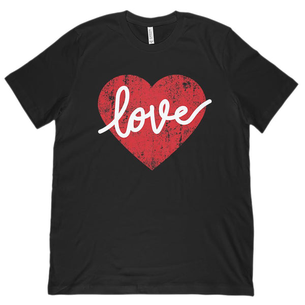 love Heart Grunge (Unisex BC 3001 Soft Tee) Graphic T-Shirt Tee BOXELS