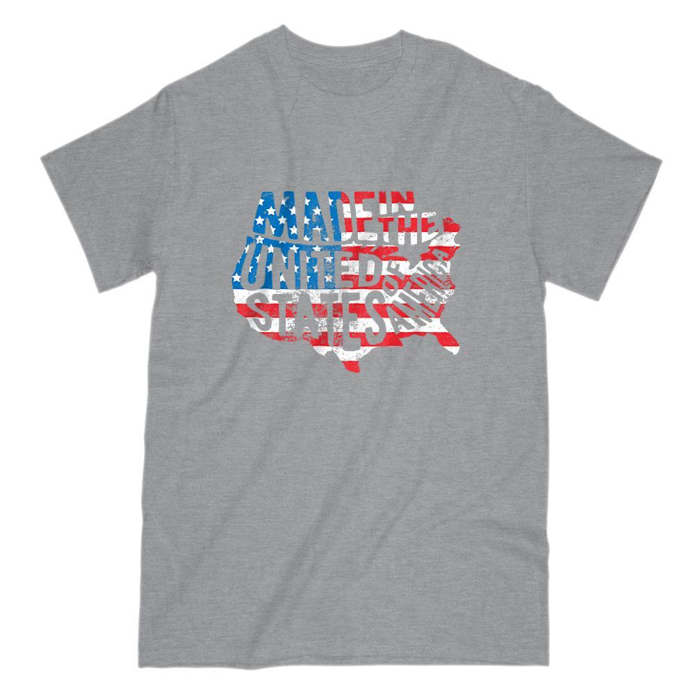 Made in the USA United States of America (flag) Patriotic Graphic T-shirt Graphic T-Shirt Tee BOXELS