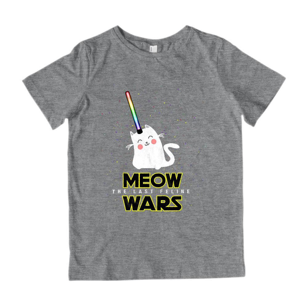 Meow Wars The Last Feline Star Space (kids) Kitty Cat Graphic T-Shirt Tee BOXELS
