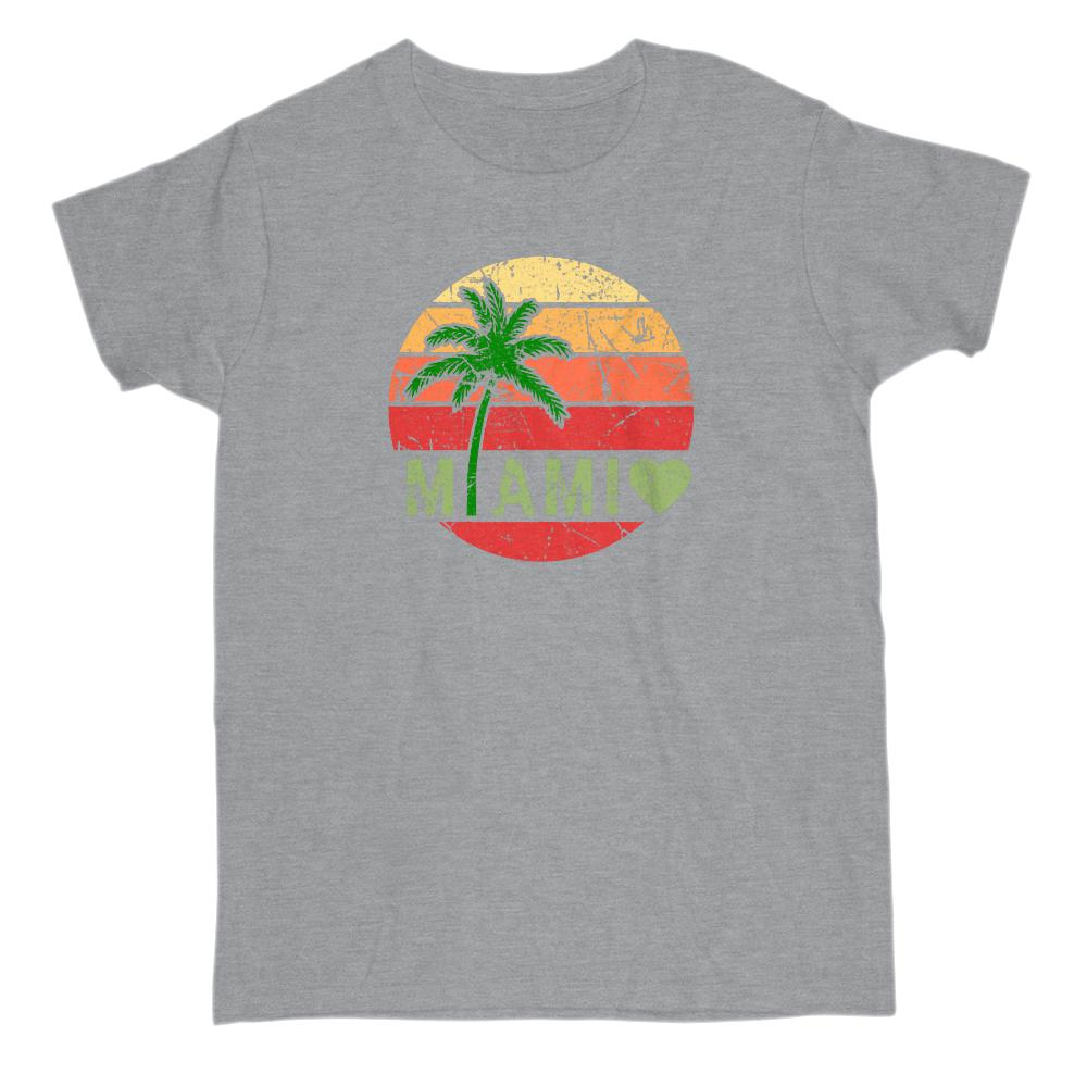 Miami Sunset Palm Tree Grunge Scene (women's Tee) Graphic T-Shirt Tee BOXELS