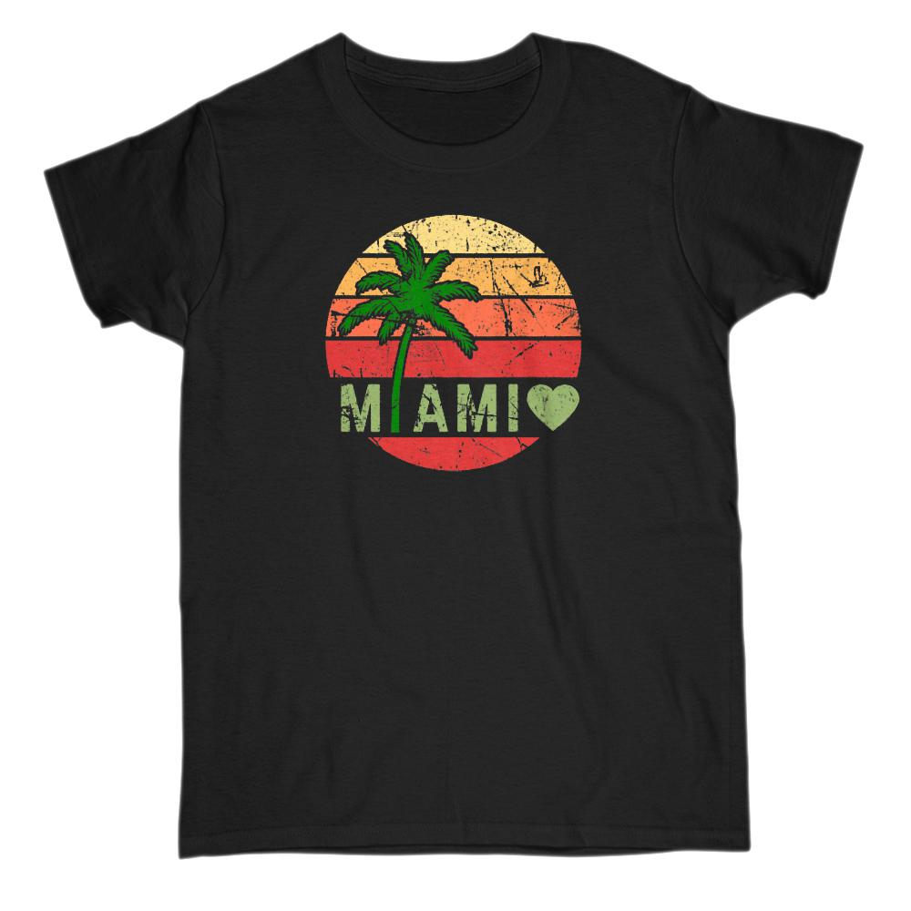 Miami Sunset Palm Tree Grunge Scene (women's Tee)