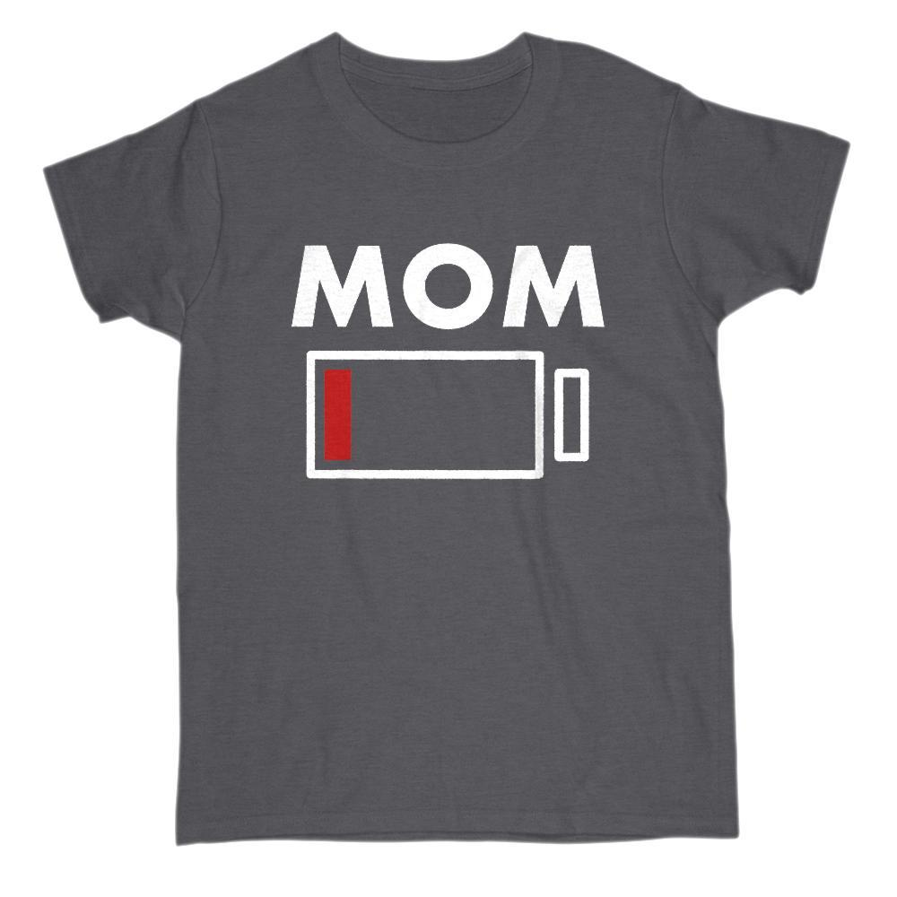 Mom Drained Battery Charge Funny Graphic Tee Graphic T-Shirt Tee BOXELS