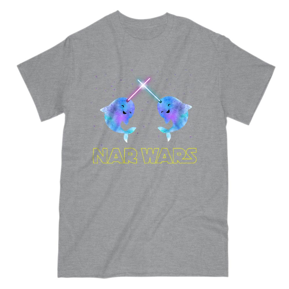 Nar Wars Happy (adults) Space Star Parody Narwhal Graphic T-Shirt Tee BOXELS