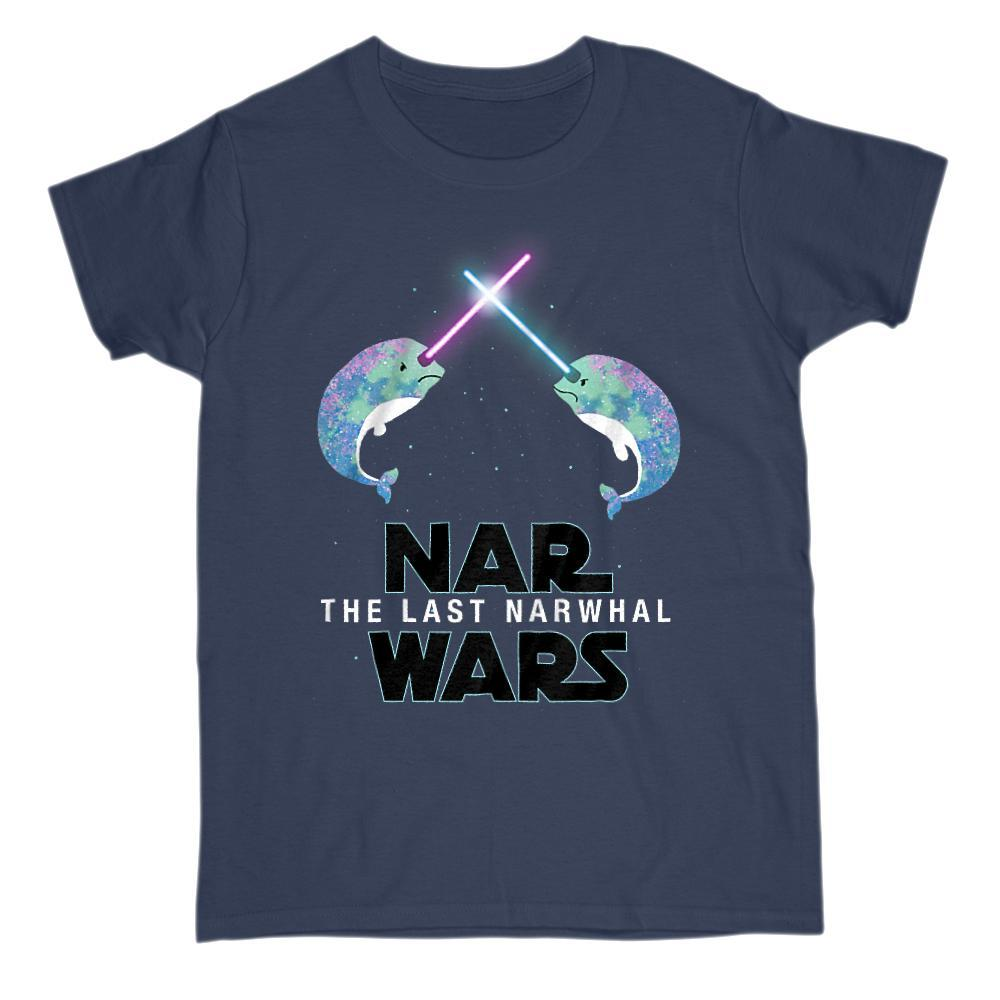 Nar Wars, the Last Narwhal Parody Saber Space Light Star Tee Graphic T-Shirt Tee BOXELS