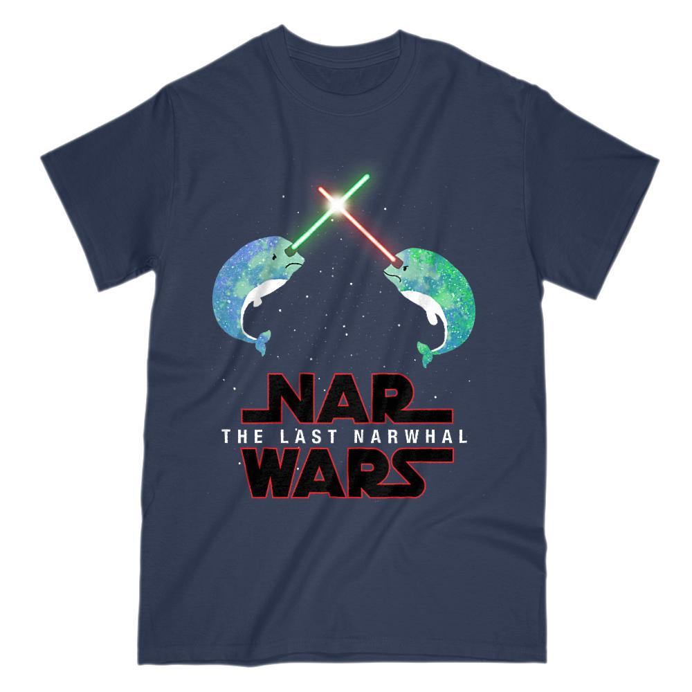 Nar Wars, The Last Narwhal Saber Light Space Star Parody Graphic T-Shirt Tee BOXELS