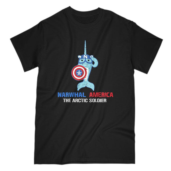 Narwhal America - The arctic Soldier Captain Parody Tee Graphic T-Shirt Tee BOXELS